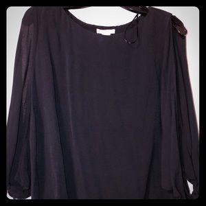 H & M black open sleeve blouse